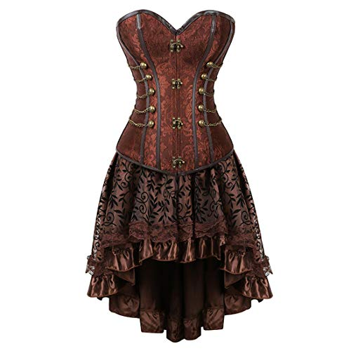 Zhitunemi Women Halloween Costume Gothic Victorian Corsets Burlesque Dresses Moulin Rouge Brown 2X-Large