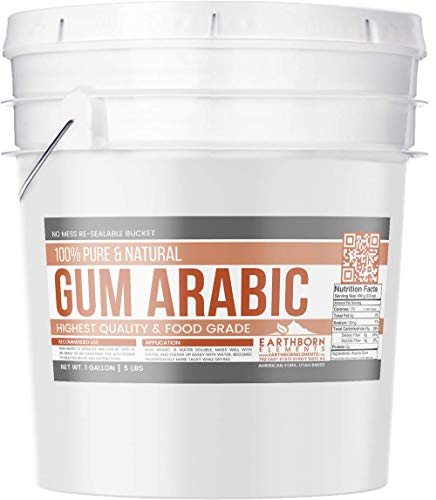 Gum Arabic (Acacia) Powder, 1 Gallon (5 lb) by Earthborn Elements, Food Grade, DIY Watercolor Paint, Craft Cocktails, Royal Icing, Ice Cream, Confectionary Crafts, Resealable Bucket