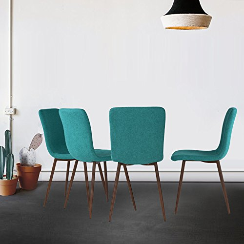 Set of 4 Dining Chairs Coavas Fabric Cushion Kitchen Chairs with Sturdy Metal Legs for Dining Room, Green by Coavas (Image #7)