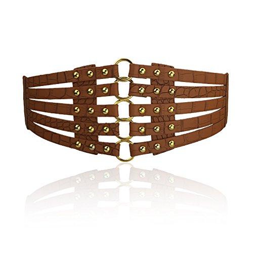 Fashion Women's PU Leather Wide Waist Belt Hollow Out Rivets Stretch Cinch Waistband - Elastic Corset Cinch Belt