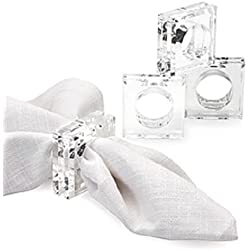 Acrylic Lucite Set of 4 Square Beveled Napkin Rings by Sparkle