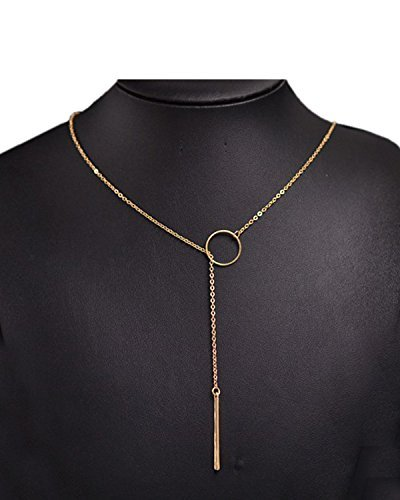 Young & Forever Women's Navratri Diwali Special Dainty Lariat Bar Necklace Gold Toned by Young & Forever