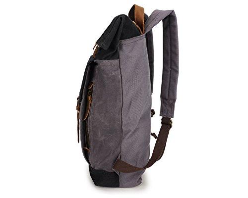 Retro Black Backpack Bag Travel Student Horseskin Waterproof Rucksack Crazy Men's SRxw6aE