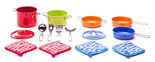 Children's 15 Pc Deluxe Cookware Play Set (Metal Pots And Pans Playset compare prices)