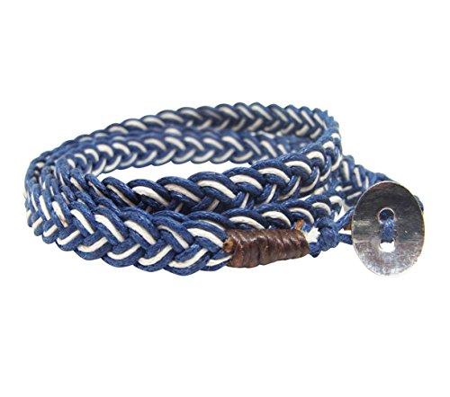 NA RIN Bracelet Men Women Classic Thai Boxing Outdoor Cotton String 3 Wrap Blue White Adjuastable