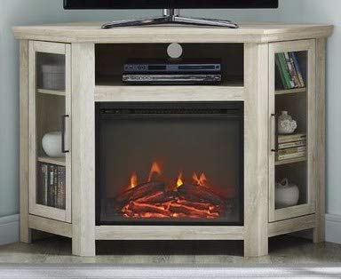 Tv Stand With Fireplace-Space Heaters for Indoor Use- White Oak Wood for Up to 50 Inch Corner Stand - Turn Up The Ambiance of Your Room