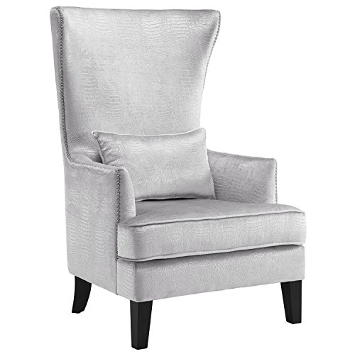 Tov Furniture The Bristol Collection Contemporary Velvet Upholstered Tall Living Room Parlor Chair with Nailhead Trim, Silver Croc