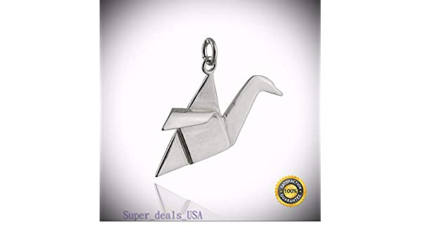 925 Sterling Silver Chinese Paper Fold Bird NEW Origami Crane Charm