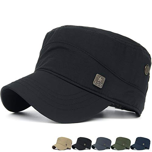 REDSHARKS Quick Dry Waterproof Military Army Cadet Cap Castro Patrol Corps Infantry Flat Top Hat Black