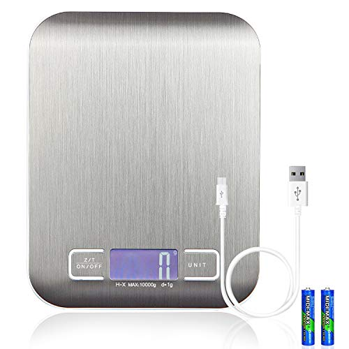 - EGOO&YAMEE Rechargeable Digital Kitchen Scale Multifunction Food Scale Portable and Tare Function, 22lb/10kg Baking & Cooking Scale, Silver Stainless Steel (Batteries Included)