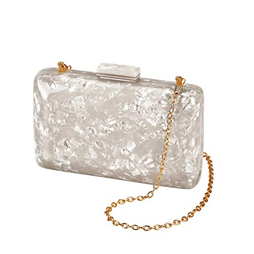GGBAZZARA Women's Evening Handbag box clutch Acrylic Stripes Shoulder Bag for Party Champagne Evening Bag(Ivory)