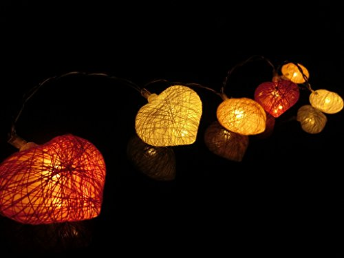 BUSOH Heart String Lights Led Lantern String Lights Battery Operated Decorative Ornament for Valentines Red Heart Pink Decor/Bedroom/Outdoor/Wedding/Party/Festival ()