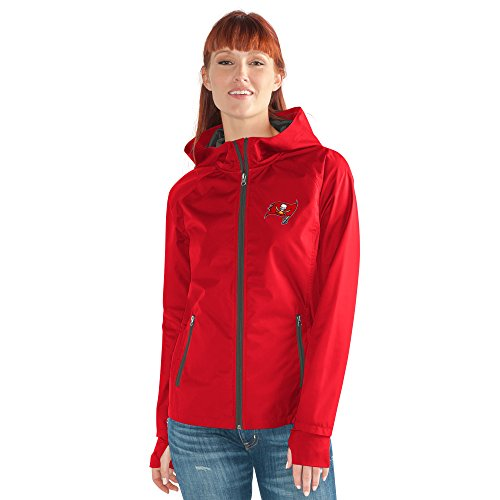 - GIII For Her NFL Tampa Bay Buccaneers Women's Onside Kick Light Weight Full Zip Jacket, Large, Red