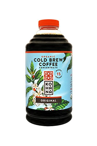 Kohana Cold Brew Coffee Concentrate, 32 ounces. Organic, Fair Trade, healthy, iced coffee, energy drink. Low-acid instant coffee. Convenient, travel mug friendly. Serves 6-8.