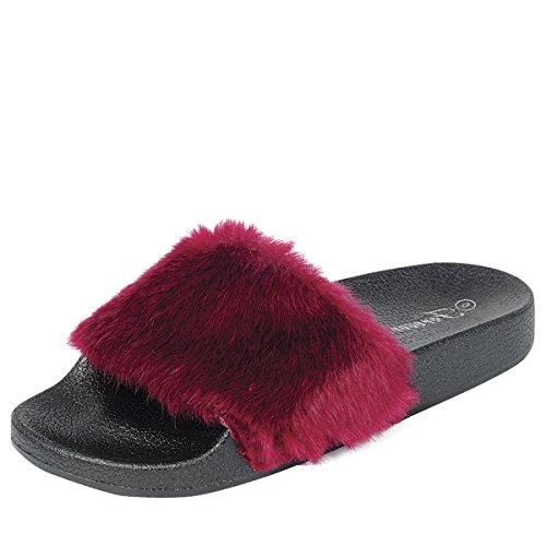 Pour Toujours Lien Bout Ouvert Femme Diapositive Fausse Fourrure Sandale Plate Slip Sur Flip Flop Pantoufles Bordeaux