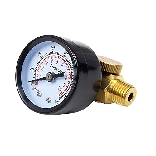 Beduan Air Pressure Control Valve Regulator with Gauge Solid Brass Construction 140 PSI ()