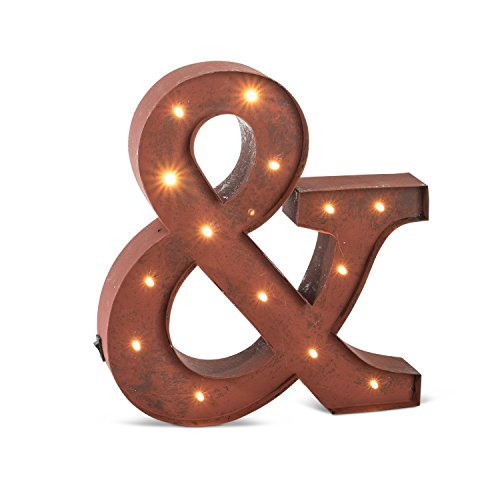 Lighted Metal (The Gerson Company 12'' Rustic Brown Lighted Metal Letter ''&