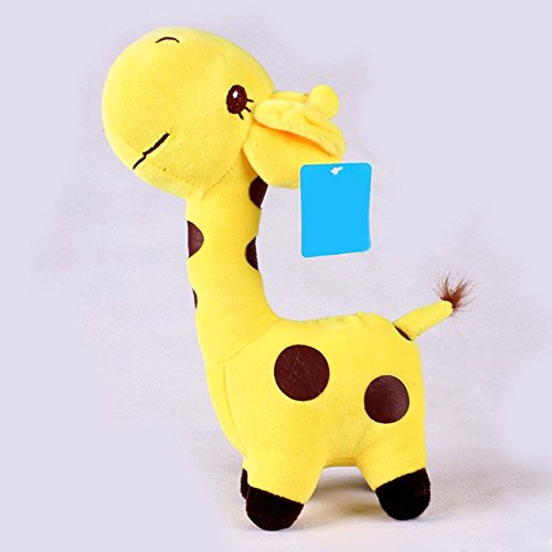 18x8cm Unisex Baby Kid Cute birthday Gift Plush yellow Giraffe Soft Toy Animal Dear Doll (Paint Brush Birthday Candles)