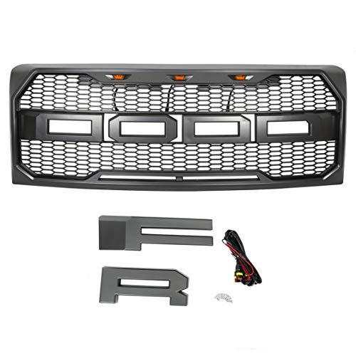 For 2009-2014 Ford F150 Front Mesh Grill Raptor Conversion F&R Letter LED GRAY