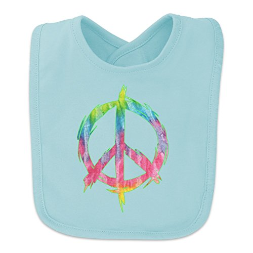 Tie Dye Peace Sign Baby Bib - Blue