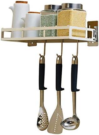 ホームキッチンツールガジェットステンレス鋼の収納棚壁に取り付けられたパンチのない調味料キッチンシェルフ3フック付き42 * 15 * 5 cm(色:シルバー)