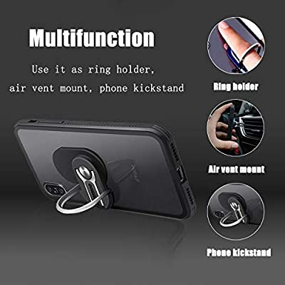 Phone Ring Holder WYTTDM 3 in 1 Universal Air Vent Car Cell Phone Mount Finger Kickstand Stand 360°Rotation 90°Flip (Black)