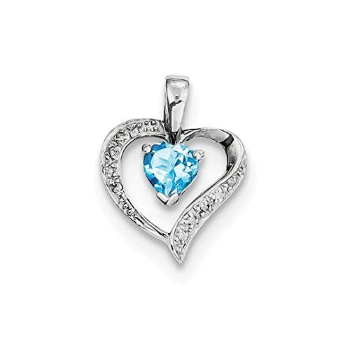 925 Sterling Silver Heart Swiss Blue Topaz Diamond Pendant Charm Necklace Gemstone Love Fine Jewelry For Women Gift ()