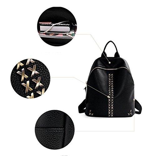 school backpack x backpack Ms bag black Shoulder bag College Z Rivet Leisure Bag Student Shoulder package amp;YF traveling wFzn7qTg
