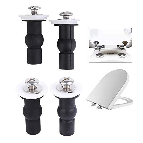 Cosybreeze 4Pack Toilet Seat Hinges Screws Fixings - Toilet Top Fix Expanding Rubber Nuts Screw Set - Black (Blind Bolt)