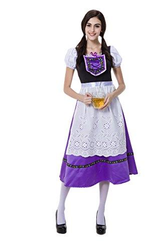 Honeystore Women's German Beer Maid Fancy Dress Halloween Costume Purple L (German Fancy Dress Ladies)