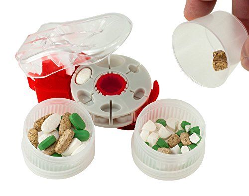 Prorxdisc Pill Cutter / Pill Splitter with Catch Cup, 2 Medication Containers and 18 Cavity Deluxe Disc for Cutting Different Shapes and Sizes of Pills and Tablets ()