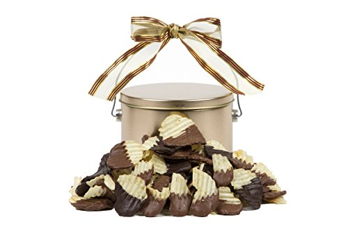 Sugar Plum Chocolates – Special Chocolate-Dunked Potato Chip Tin – Award-Winning Potato Chips Dipped In Milk or Dark Chocolate – BEST Gifts for Kids and Adults-1/2 pound (Chocolate Dipped Potato Chips)