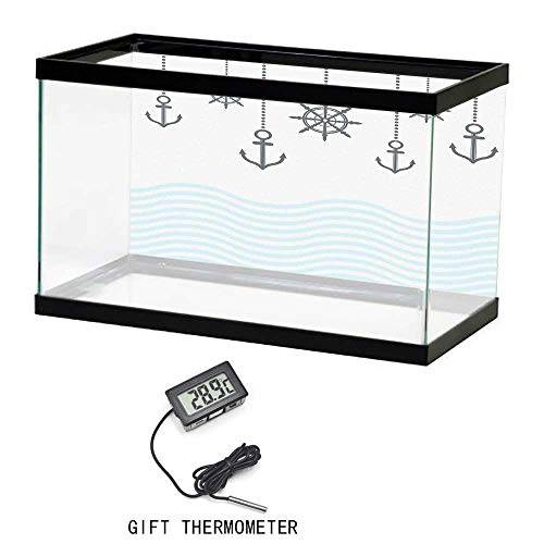 Aquarium Background Fish Tank Wallpaper,Anchor,Anchors with the Chains on Top of the Ocean Waves Be Strong in Difficulties Theme,Grey Blue,24