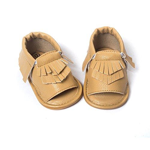 etrack-online bebé niño niña Prewalker de piel sintética borla de Verano Sandalias blanco roto blanco Talla:12-18months caqui