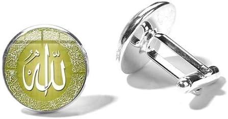 ZHENZHIA Boutons de Manchette Islam Musulman Smoking Costume Chemise Bouton Allah Symbole Art Photo Verre Bijou /à la Main ligion Bijoux