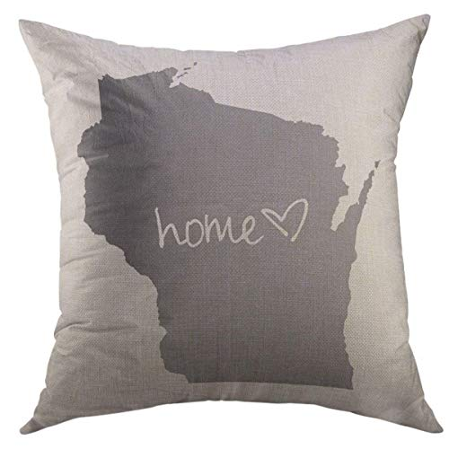 Mugod Decorative Throw Pillow Cover for Couch Sofa,Home <3 Wisconsin Home Decor Pillow Case 18x18 Inch
