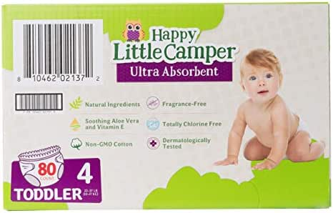 Happy Little Camper x Hilary Duff Ultra-Absorbent Hypoallergenic Natural Baby Diapers with Bio-Core Blend and Strong Latex and Chlorine-Free Protection, Size 4, 80 Count