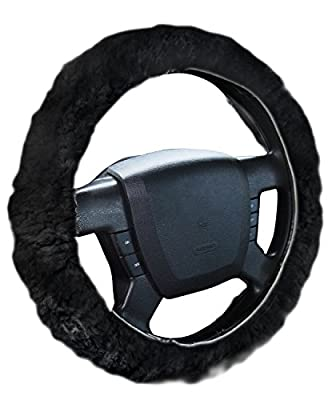 Zone Tech Luxurious Non-slip Car Decoration Steering Wheel Plush Cover - Black Authentic Sheepskin Thermal Steering Wheel Cover