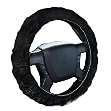 Zone Tech Plush Genuine Sheepskin Stretch-on Steering Wheel Cover-black