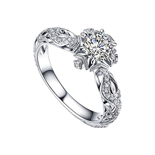 Flower Rings, The Latest Fashion Elegant Diamond Flower Ring for Young People(Silver_10,8)