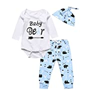 Catmama Outfit Set 3PCS Baby Boys Girls Baby Bear Long Sleeve Rompers (6-12 Months)