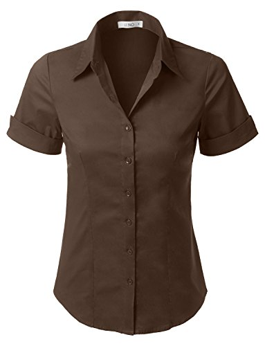 (LE3NO Womens Short Sleeve Button Down Shirt With Stretch,L3nwt575a_brown,X-Small)