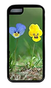 iPhone 5C Case, Personalized Protective Rubber Soft TPU Black Edge Case for iphone 5C - Blue Yellow Flowers Cover Kimberly Kurzendoerfer