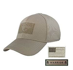 Condor Flex Tactical Cap (Tan) + FREE Stitched Velcro Flag & Patch