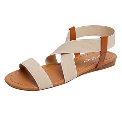 Women Beach Wear Flat Sandals Low Heel Anti Skidding Cross Strap Peep-Toe Shoes (Beige -1, US:6.0)