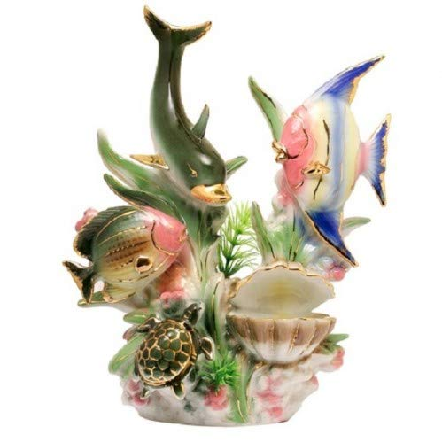 Feng Shui Dolphins-hand Crafted and Decorated Chinese Porcelain,figurine 950330 (Porcelain Dolphin Figurines)