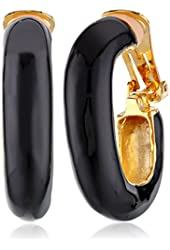 Kenneth Jay Lane Polished Gold and Black Enamel Clip-On Earrings