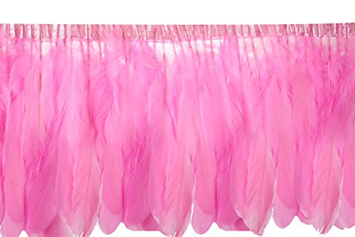 2 Yards Natural Goose Feather Trim Fringe - 6~8 inch (15~20cm) for DIY Dress Sewing Crafts Costumes Decoration (Pink)