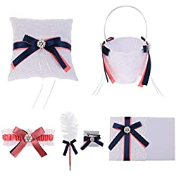 Agordo 5pcs Wedding Party Bow Flower Girl Basket Ring Pillow Guest Book Pen Garter