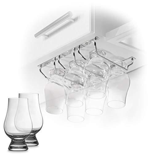 CairnCradle Whiskey Glass Rack – Under Cabinet Whisky Tasting Glasses Holder Storage Hanger Metal Organizer for Bar…